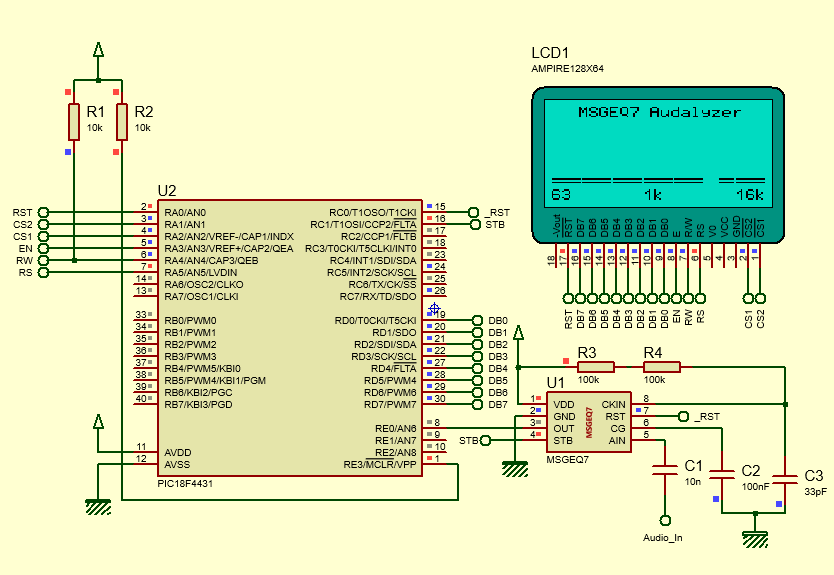 Libstock Glcd Msgeq7 Audalyzer Audio Spectrum Analyzer