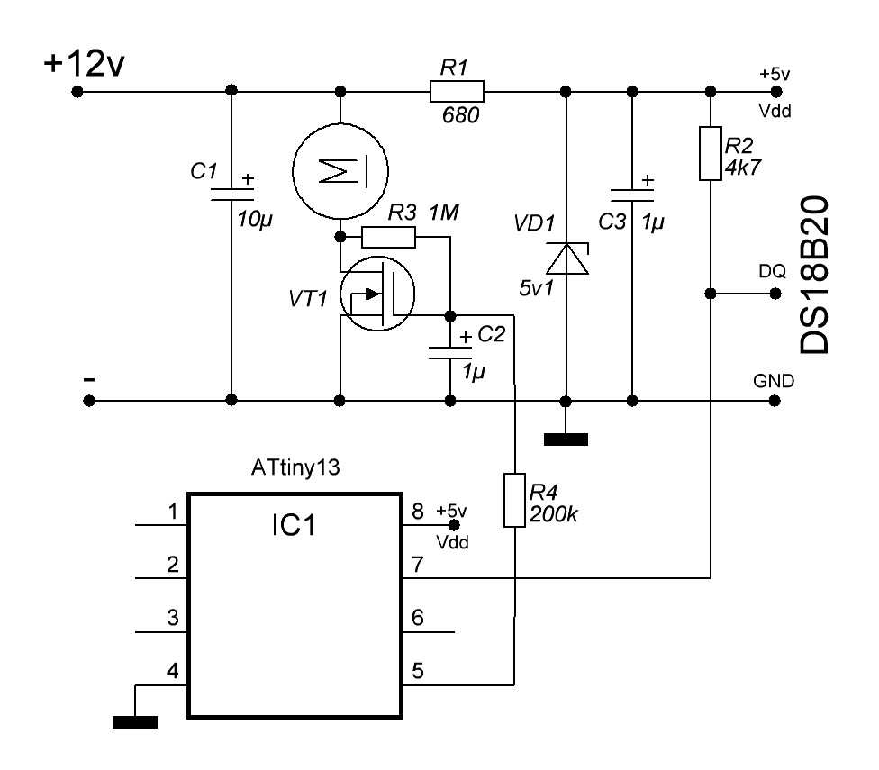 Libstock Dc Fan Speed Control On Attiny13 And Ds18b20 Circuit Cxema