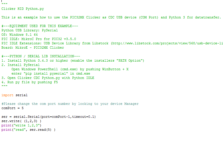 LibStock - USB CDC Clicker and Python3 - Example (COM Port)